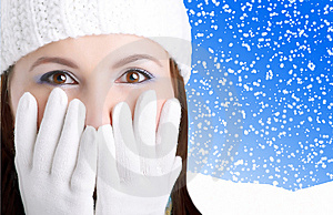 Winter Girl looking surprised Free Stock Photography