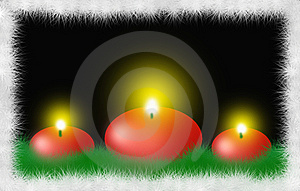 Three Red Round Christmas Candles Royalty Free Stock Photography - Image: 7019037