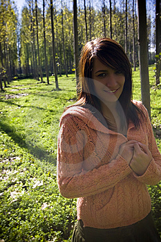 Woman In Forest, Improvised Style Picture Royalty Free Stock Images - Image: 7022029