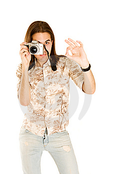 Professional Photographer With Digital Camera. Stock Images - Image: 7022084