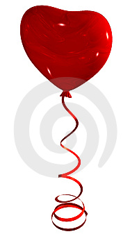 Red Heart Balloon On Ribbon Stock Photo - Image: 7024150