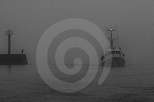 Ships In Port (fog) Royalty Free Stock Photos - Image: 7027978