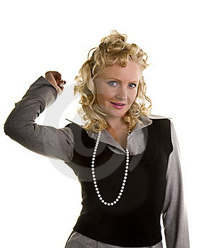 Curly Blonde In Pearls Hand Behind Head Stock Image - Image: 7033251