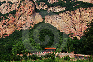 Colored Temple And Red Mountain Royalty Free Stock Photo - Image: 7041445