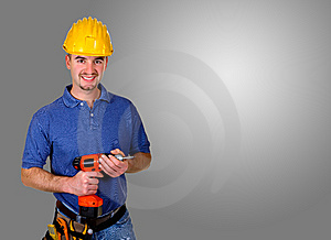 Standing isolated young manual worker background Stock Photos