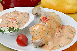 Stewed Chicken Meat With Salsa Andalusa Sauce Stock Photography - Image: 7042232