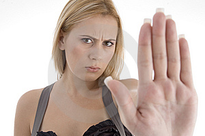 Angry Woman Showing Stopping Gesture Royalty Free Stock Photo - Image: 7042345