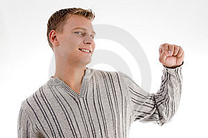 Smiling Man Showing His Fist Stock Photos - Image: 7042603