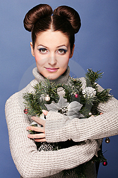 Girl With Fir Branch Royalty Free Stock Photography - Image: 7042847