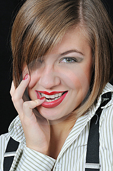 Nice Girl Bite One's Finger Stock Photos - Image: 7046603