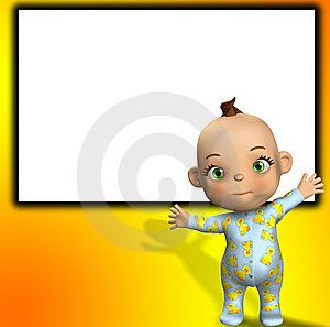 Tiny Waving Baby With Blank Sign Royalty Free Stock Image - Image: 7049366