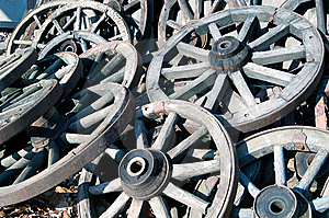 Old Wooden Wagon Wheels Stock Image - Image: 7049471