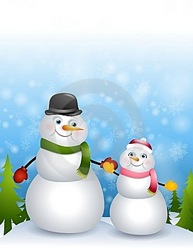 Padre Daughter Snowmen Fotografia Stock