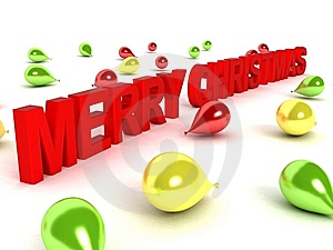 Merry Christmas Text And Balloons Stock Image - Image: 7053041