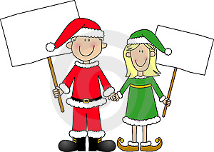 Boy And Girl Dressed For Christmas Holding Signs Royalty Free Stock Image - Image: 7055606