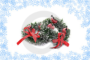 Christmas Toy In Snowflakes Frame Isolated Stock Photos - Image: 7060283