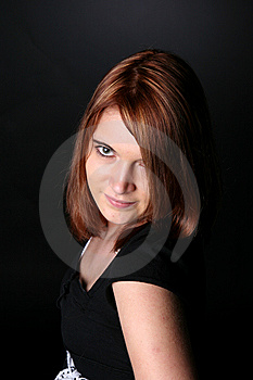 Pretty Teenage Girl With Red Hair And Black Shirt Royalty Free Stock Photography - Image: 7064007