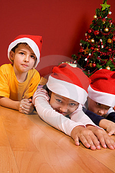 Little Children As Santa In Red Cap Stock Images - Image: 7064924
