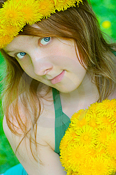 Fine Girl With Bouquet Dandelion Royalty Free Stock Photos - Image: 7068538