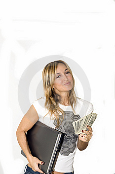 Beautiful Young Woman Makes Money Royalty Free Stock Photography - Image: 7068647