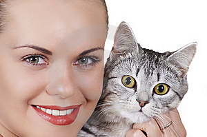 Beautiful Girl And Cat Stock Photo - Image: 7068830