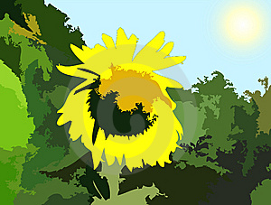 Jungle With Sunflower Painting Stock Photography - Image: 7155012