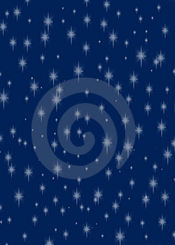 Glittering Stars On A Dark Rich Blue Background Stock Photos - Image: 7249133