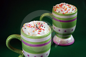Striped Mugs Of Hot Cocoa Stock Image - Image: 7269901