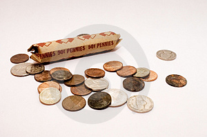 Roll Of Pennies Royalty Free Stock Photo - Image: 735875
