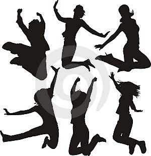 Jumping people silhouettes Stock Image