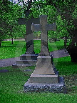 Two Large Crosses In A Cemetery, With Fog Royalty Free Stock Images - Image: 745289