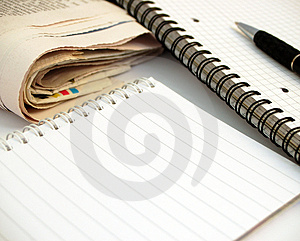 Notebook, pen and newspaper #2 Stock Photos