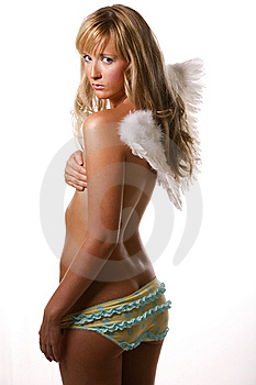 Over The Shoulder Angel Glance Royalty Free Stock Photo - Image: 7649375