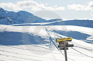 The Signpost In The Winter Mountains Stock Image - Image: 7702311
