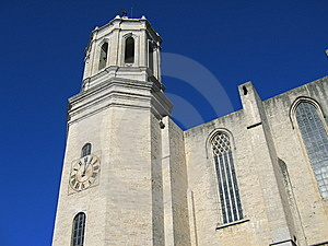 Girona Cathedral Clock Tower Royalty Free Stock Image - Image: 7703086