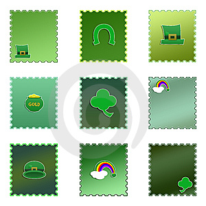 Set Of Isolated Colored St. Patrick's Day Stamps Stock Photography - Image: 7710032
