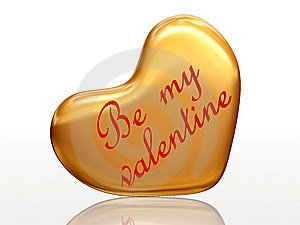Be My Valentine In Golden Heart Royalty Free Stock Images - Image: 7710619