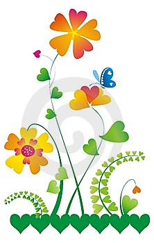 Floral Element With Hearts Royalty Free Stock Images - Image: 7711479
