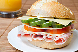 Delicious Ham, Cheese And Salad Sandwich Stock Image - Image: 7712411