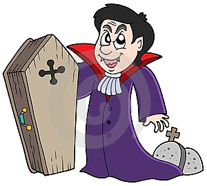 Vampire With Coffin And Graves Royalty Free Stock Photos - Image: 7712768