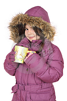 Little Girl With Cup Of Hot Tea Stock Image - Image: 7715211
