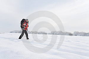 Hiker On The Snow Royalty Free Stock Photos - Image: 7715998