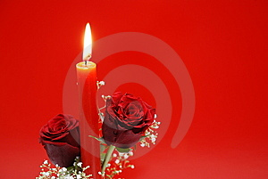 Red Roses With Candle Royalty Free Stock Images - Image: 7716459