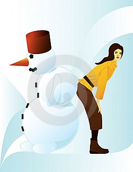 Girl With Snowman Stock Image - Image: 7717931