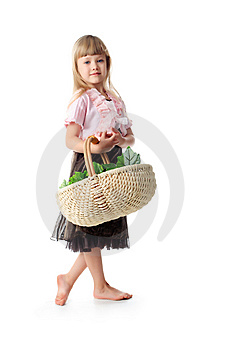 Girl And Bascet Royalty Free Stock Photos - Image: 7722028