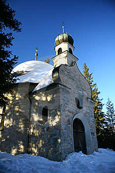 Chappel In The Snow And Mountain Royalty Free Stock Images - Image: 7722669