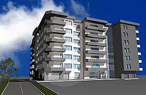 3D Render Of Modern Residential Building Royalty Free Stock Images - Image: 7722799