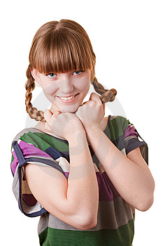Young Smiling Girl With Plaits Stock Photos - Image: 7727183
