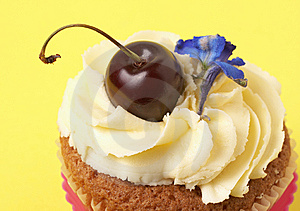Miniature Vanilla Cupcake With Cherry Stock Photo - Image: 7728170