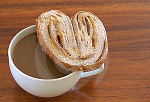 Cup Of Hot Coffee And Palmier Cookie Royalty Free Stock Images - Image: 7729119
